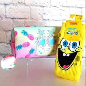 SpongeBob Squarepants Crew Socks + Travel Tote Bag